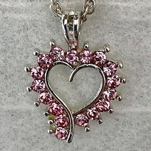 🎉5/20 SALE🎉 pink crystal open heart necklace
